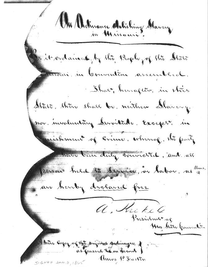Missouri's Slaves Emancipated