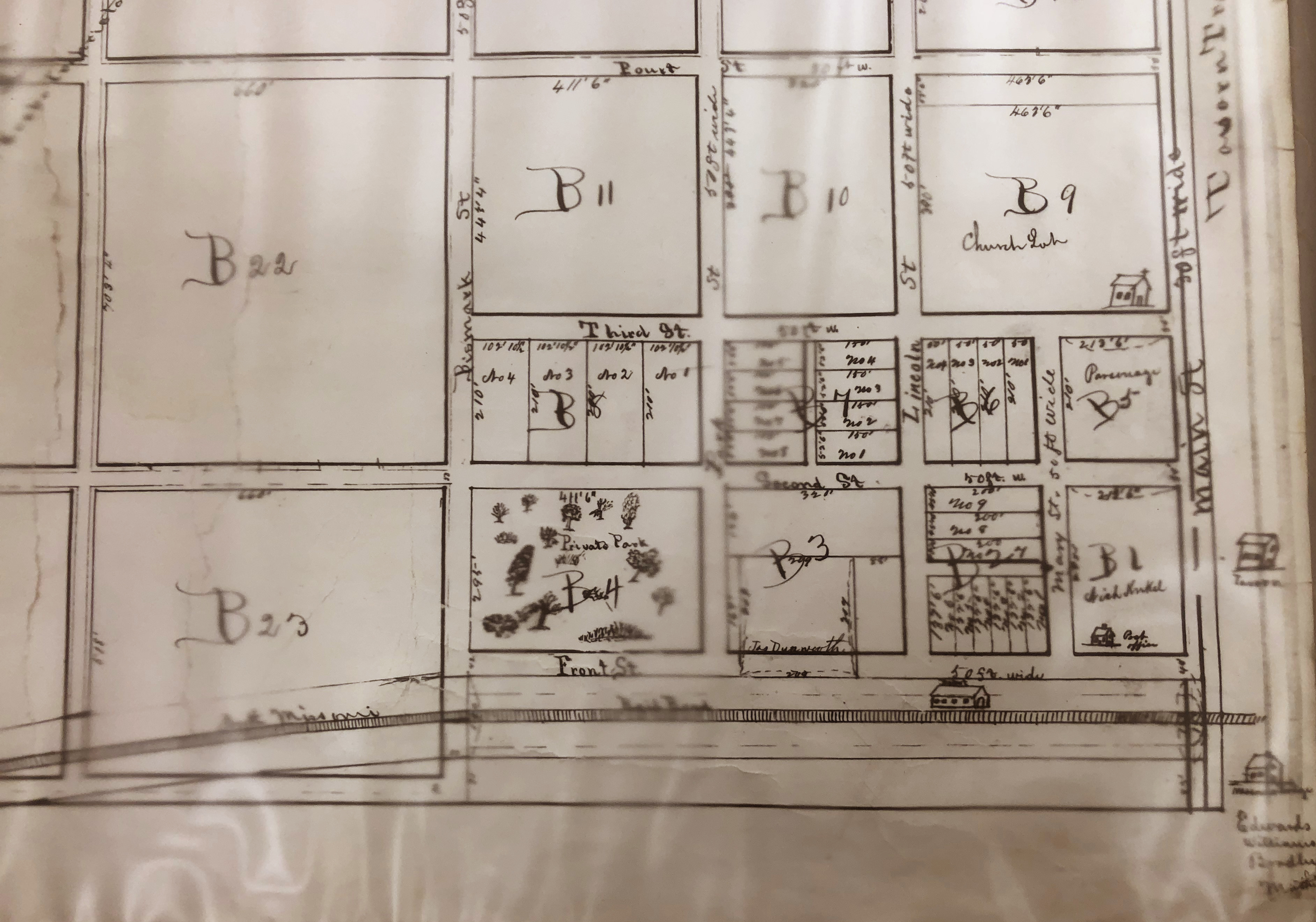 Survey drawn by Arnold Krekel of the original town of O'Fallon, Missouri.